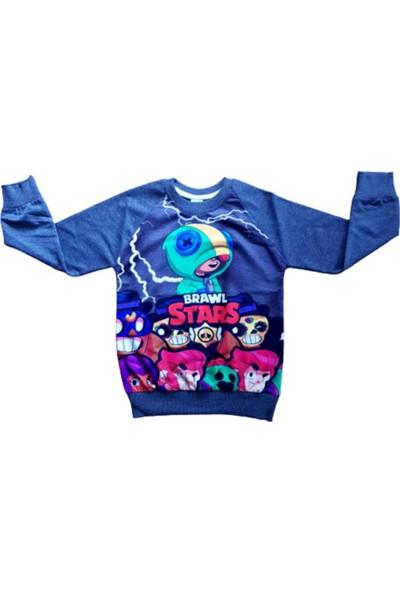 Brawl Stars Erkek Çocuk Gri Tasarım Baskılı Sweatshirt