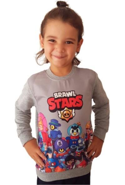 Brawl Stars Çocuk Gri Özel Tasarım Sweatshirt