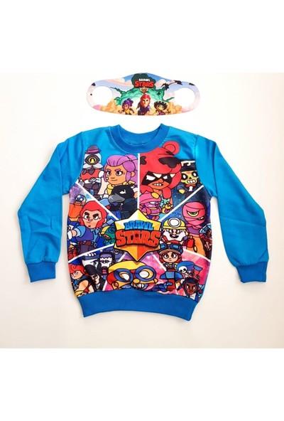 Brawl Stars Erkek Çocuk Mavi Özel Tasarım Sweatshirt ve Maske