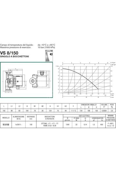 Dab Vs 8/150 M Bronz Gövdeli Resirkülasyon Pompası - 1''