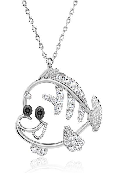 İndigo Takı Küçük Sevimli Balık Beyaz Gümüş Kolye