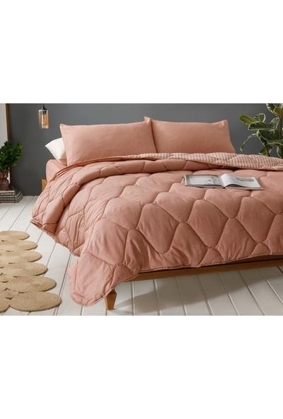 English Home Comfy Stripe Ipliği Boyalı Tarçın 240 x 220 cm King Size Uyku Seti