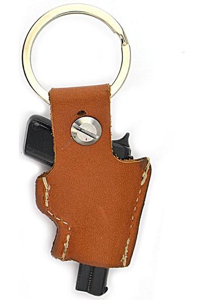 Anahtarlık Sepeti 14 Lü Tabanca Deri Kılıflı Anahtarlık (Taba)