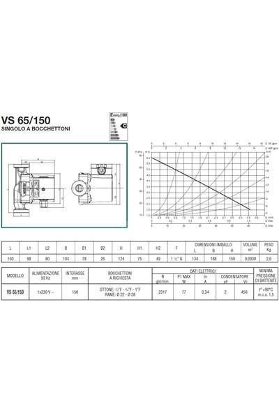 Dab Vs 65/150 M Bronz Gövdeli Resirkülasyon Pompası 1''
