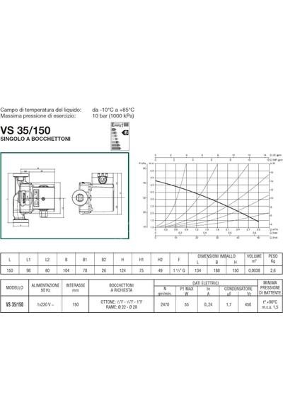 Dab Vs 35/150 M Bronz Gövdeli Resirkülasyon Pompası 1''