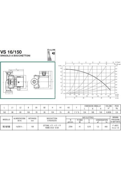 Dab Vs 16/150 M Bronz Gövdeli Resirkülasyon Pompası 1''