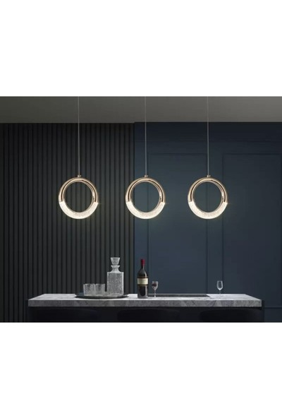 Burenze Elegance Luxury Modern Tasarım Üçlü Sarkıt LED Avize Sıralı Yemek Masası Gold Sarı BURENZE819