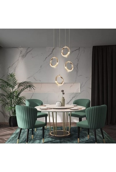 Burenze Elegance Luxury Tasarım Modern Dörtlü Sarkıt LED Avize Gold Sarı BURENZE821