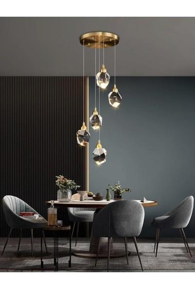 Burenze A+ Luxury Modern Kristalize Cam Sarkıt Beşli LED Avize Gold Sarı BURENZE828