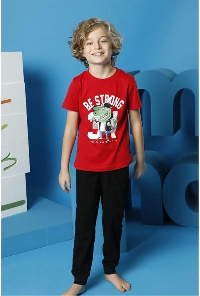 Hmd Erkek Çocuk Kırmızı Kısa Kollu Pijama Takımı 5495