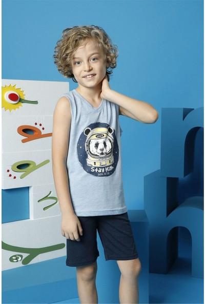 Hmd Erkek Çocuk Mavi Askılı Şortlu Takım 5502