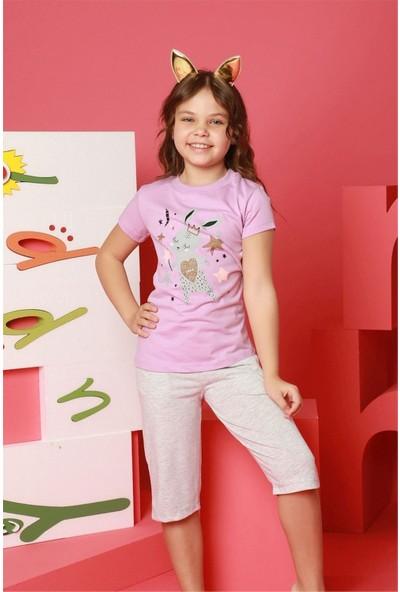 Hmd Kız Çocuk Pembe Kısa Kollu Kapri Takım 6197