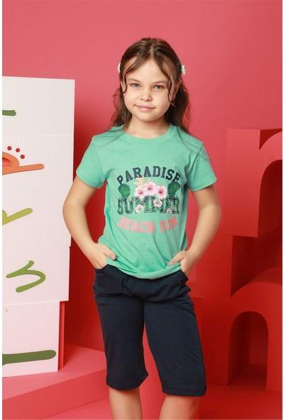 Hmd Kız Çocuk Yeşil Kısa Kollu Kapri Takım 6203
