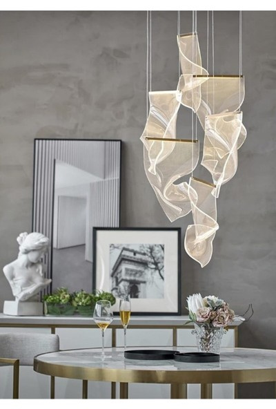 Burenze Ultra Luxury Elegante Sarkıt LED Avize Altılı Nordic Tasarım Gün Işığı BURENZE881