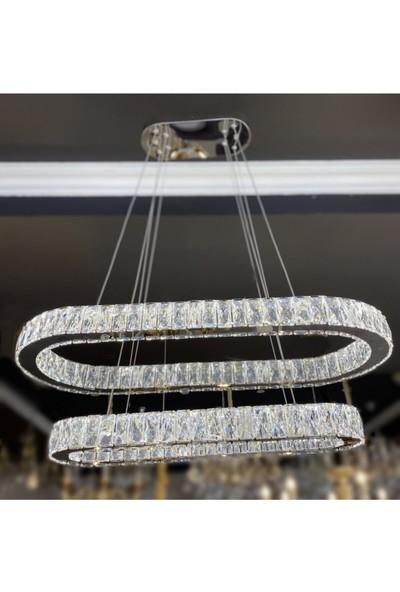Burenze Luxury Modern Kristal Taşlı Sarkıt LED Avize Krom Elips Kumandalı 3 Renk BURENZE840
