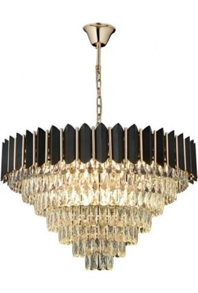 Burenze Luxury Modern Kristal Taşlı Sarkıt Avize Gold Sarı Siyah 80'lik BURENZE620
