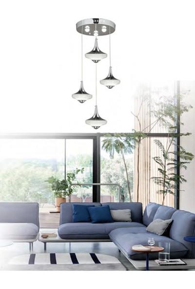Burenze Modern Krom Kademeli 3 Renk Sarkıt Power LED Avize BURENZE739
