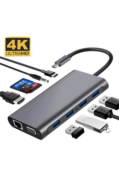 Daytona FC31 Macbook Uyumlu Type-C™ USB-C to 4* USB 3.0 4K 1080p HD HDMI VGA 1000 Mbps RJ45 Pd Aux Ses Sd Tf Kart 11IN1 Çevirici Hub Adaptör