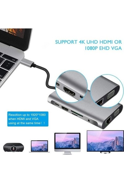 Daytona FC32 Macbook Uyumlu Type-C™ UBS-C to 3* USB 3.0 4K 1080p HD HDMI VGA 1000 Mbps RJ45 Pd Aux Sd Tf 10IN1 Çevirici Hub Adaptör