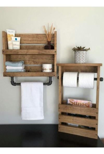 Umutpark Ahşap Çok Amaçlı Banyo Raflı Havlu Askılık ve Tuvalet Kağıdı Stand