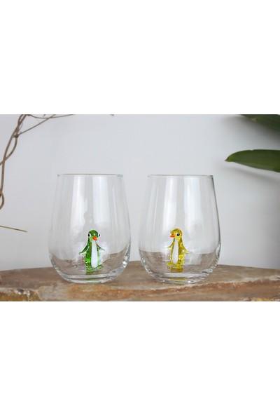 Adamodart Penguen Cam Figürlü Su Bardağı 6'lı Set