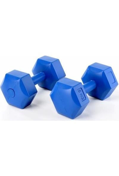 Performans Spor Dambıl 6 kg x 2 Adet Plastik Mavi Dambı
