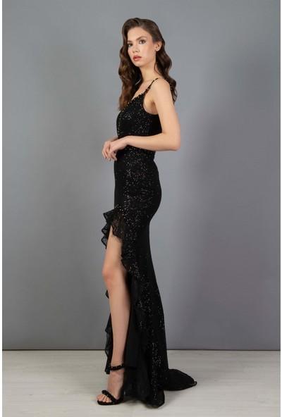 Carmen Siyah Payetli Kesme Taşlı Balık Abiye Elbise