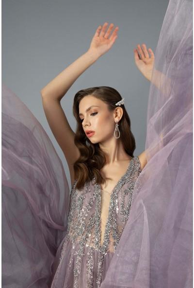 Carmen Lavanta Işlemeli Tül Nişanlık Abiye Elbise