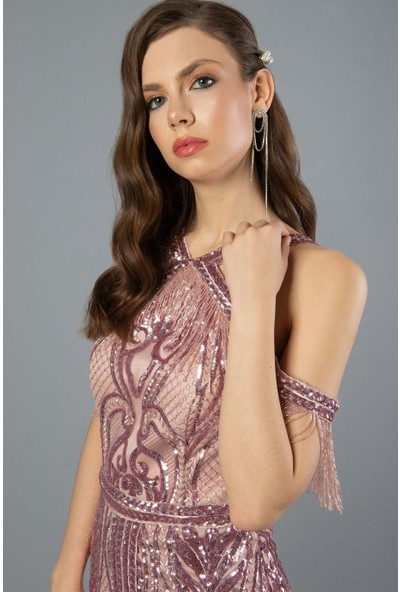 Carmen Pudra Pul Payetli Boncuklu Nişan Elbisesi