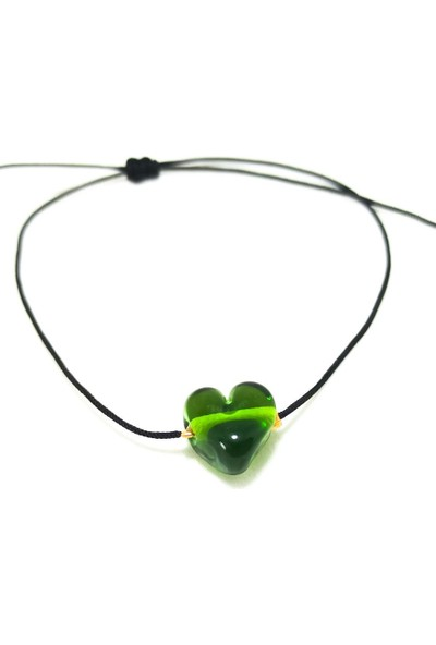 Cen Cam Yeşil Kalpli Bileklik (Şeffaf)