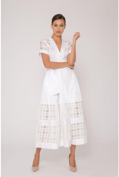 Transparan Ekose Detaylı Beyaz Uzun Poplin Elbise