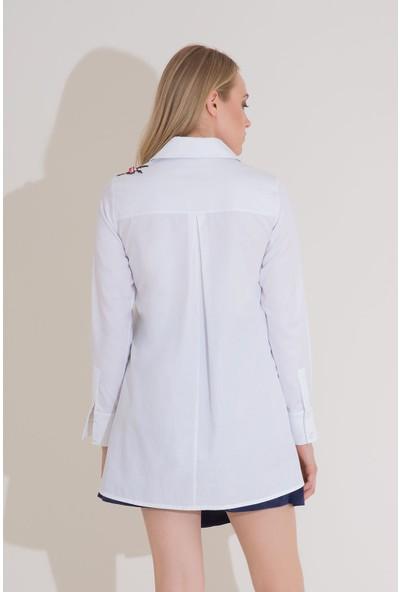 GIZIA Nakış Detaylı Uzun Kol Beyaz Poplin Gömlek
