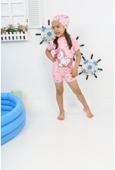 Kids Wear Unicorn Desenli Pembe Kız Çocuk Mayo Bone Takımı