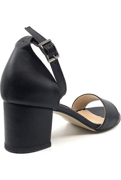 Gizsah Siyah Cilt Tekbant Alçak Topuklu Bayan Ayakkabı