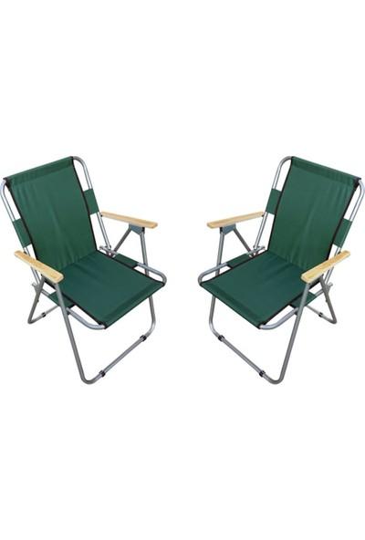 Trend Maison Tm Ahşap Kollu Katlanabilir Piknik Kamp Balıkçı Plaj Sandalyesi Yeşil 2 Adet