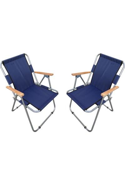 Trend Maison Tm Ahşap Kollu Katlanabilir Piknik Kamp Balıkçı Plaj Sandalyesi Lacivert 2 Adet