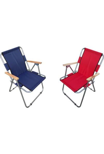 Trend Maison Tm Ahşap Kollu Katlanabilir Piknik Kamp Balıkçı Plaj Sandalyesi Lacivert ve Kırmızı