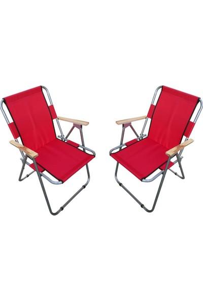 Trend Maison Tm Ahşap Kollu Katlanabilir Piknik Kamp Balıkçı Plaj Sandalyesi Kırmızı 2 Adet