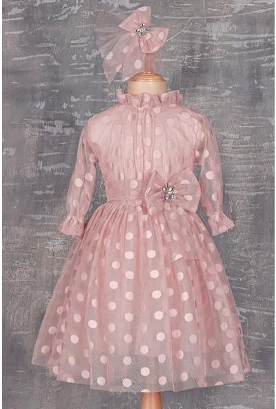 Tivido Kız Çocuk Tokalı Puan Dantel Elbise