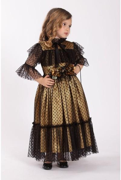 Tivido Siyah Dantel Boydan Kız Çocuk Elbise - Çantalı