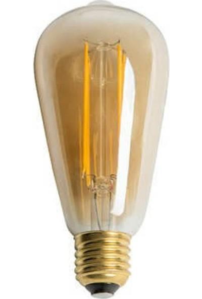 Era ST64 Flamanlı Rustik 6W LED Ampul 3'lü Dekoratif Vintage Aydınlatma Amber Rengi