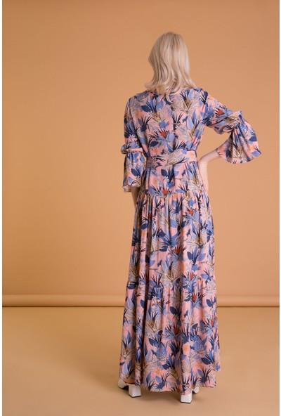 GIZIA Tropik Desenli Karışık Renkli Uzun Elbise