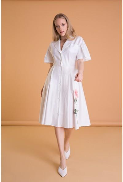 GIZIA Çiçek Baskılı Beyaz Midi Kloş Elbise