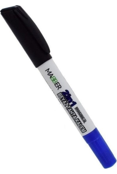 Mabber Beyaz Tahta Kalemi - Çift Uçlu - Siyah Mavi