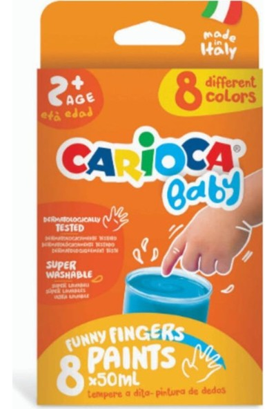 Carioca Bebek Parmak Boyası 8 Renk 8 x 50 ml Süper Yıkanabilir 2+ Yaş