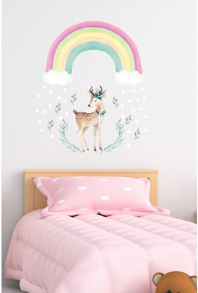 Sim Tasarım Küçük Boy Gökkuşağı ve Geyik Tema Rengarenk Düşler Duvar Sticker Seti