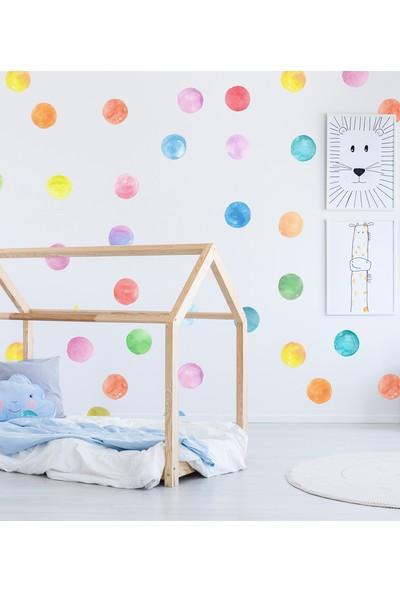 Sim Tasarım Sulu Boya Puantiyeler Duvar Sticker