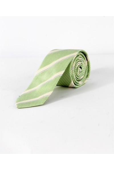 Dufy A.yeşil Çizgili ipek Kravat