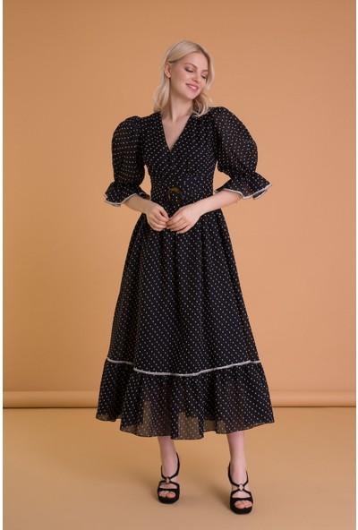 Gizia Balon Kollu Puantiyeli Siyah Uzun Elbise