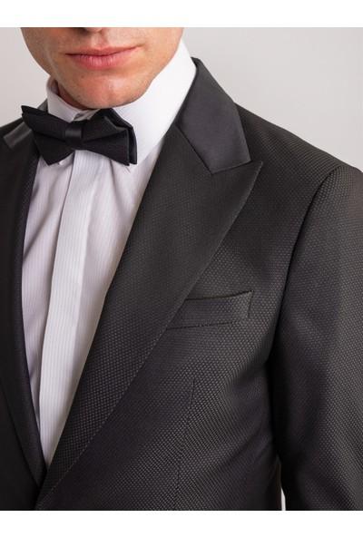Dufy Siyah Armür Viskon Likra Karışımlı Erkek Smokin / Damatlık Takım - Slım Fıt